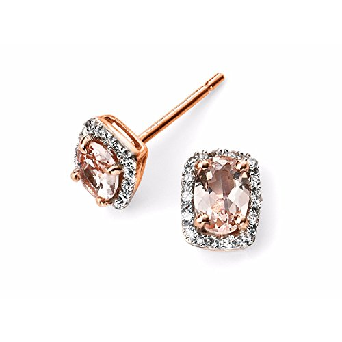 Elements Or 9ct or rose diamant et Morose Goldanite Boucles d'oreilles