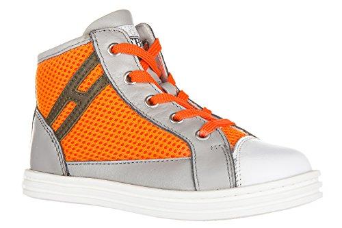 Hogan Rebel Sneakers Kinder Schuhe Jungen Kinderschuhe High Leder rebel r141 Gra