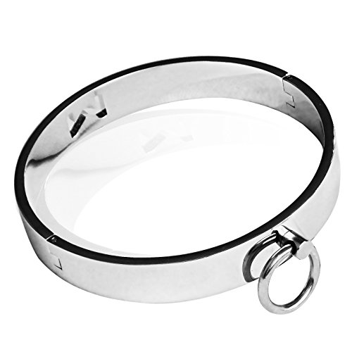 Freebily Adults Stainless Steel Lockable Necklace Slave Collar Neck Collar Cosplay Costume