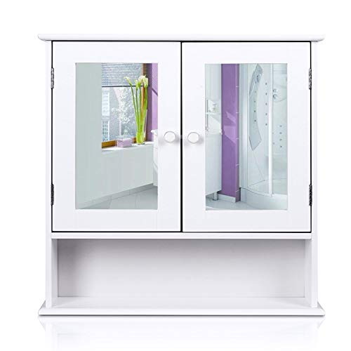 HOMFA Bathroom Wall Cabinet Multipurpose Kitchen Medicine Storage Organizer with Mirror Double -