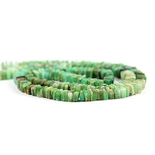 Chrysoprase Smooth Square Heshi Beads 1 inch Strand Green Brown Precious Gemstone 4-5 mm by Gemswholesale