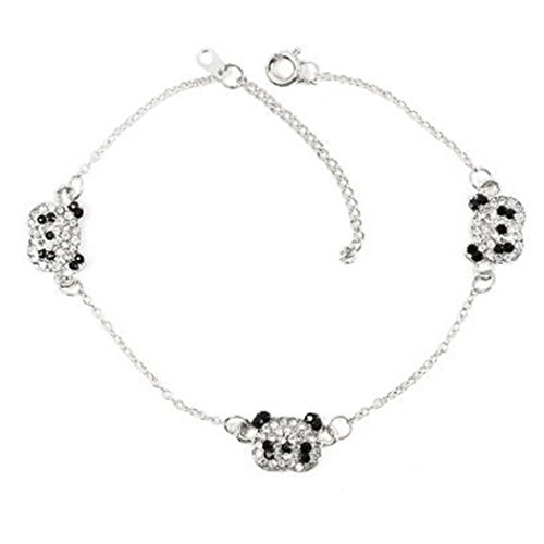 TOPSTARONLINE Fancy Silver Tone Black and Clear Rhinestone Paved Triple Panda Bear Bracelet
