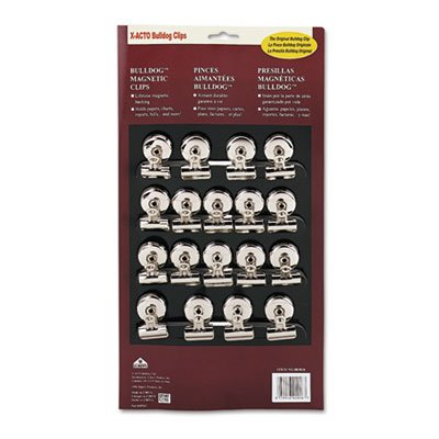 (Bulldog Magnetic Clips, Steel, 1-1/4''w, Nickel-Plated, 18/Box, Sold as 1 Box)