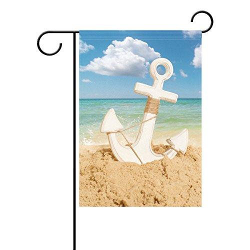 WIHVE Beach Anchor Garden Flag 12 X 18 Inch Decorative Nautical Sand Design House Banner for Outdoor Home Holiday Decor