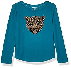 Girls Big Long Sleeve Flip Sequin Top