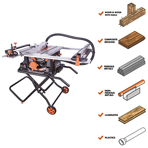 Evolution Power Tools RAGE5S 10″ TCT Multi-Material Table Saw, 10″, Orange