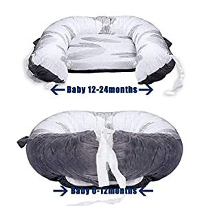 Mamibaby Baby Nest, Baby Lounger Leaves Portable Super Soft 100% Cotton and Breathable Newborn Lounger- Perfect for Co-Sleeping