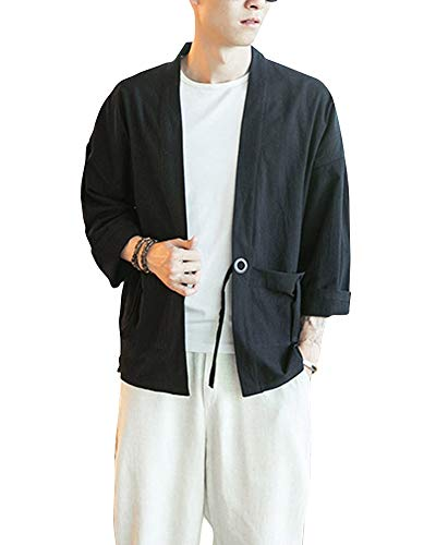 Kimono Japonés Hombre Robe Coat Manga 3/4 Mens Vintage Cloak Cotton Linen Blends Loose Fit Short Coat Jacket Cardigan Negro