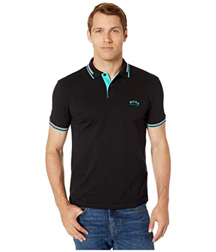 Hugo Boss BOSS Men's Paul Short Sleeve Pique Polo Shirt, Black, -