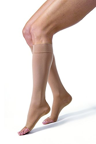 Med Toe Beige Leg Right (Jobst Relief Knee High Moderate Compression 15-20, Open Toe Silky Beige, Small)