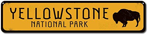 (Iliogine Buffalo National Park Sign Personalized Park Destination Sign Yellowstone National Park Custom Location Sign Metal Sign Home Decor Funny Words Street Tin Sign Gift)