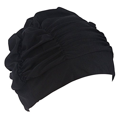 LEFV™ Swimming Cap Long Hair Swim Hat Solid Color Lycra Bathing Caps for Adult Women Men Teens,Black