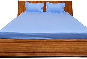 Brightlinen Light Blue Single (90 X 190 Cm) Fitted Sheet Solid(pocket Size: 22 Cm) 3pcs