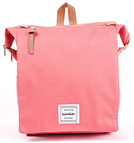 KJARAKÄR Backpack All Around Great Bag for Commuters, Travelers, Moms, Dads and Kids. Use as Diaper Bag, Gym Bag, Bookbag and More! TSA Friendly | Water Resistant (Coral Pink)