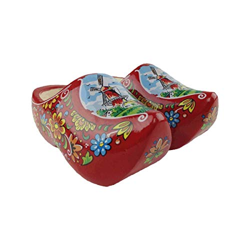 Essence of Europe Gifts E.H.G Wooden Shoe Clogs Dutch Windmill Red Design-6.5