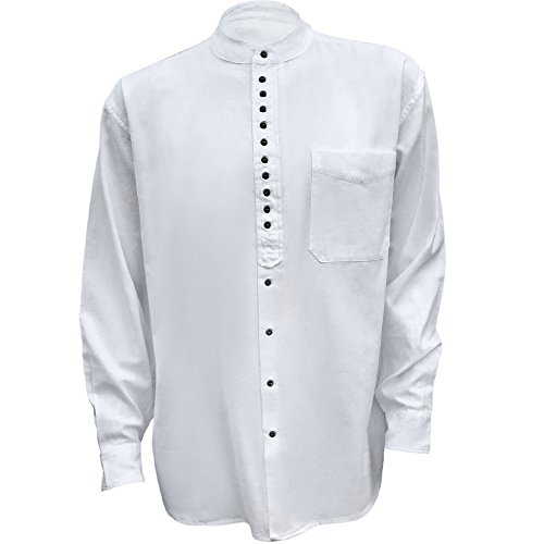 Civilian Irish Grandfather Collarless Shirt White S