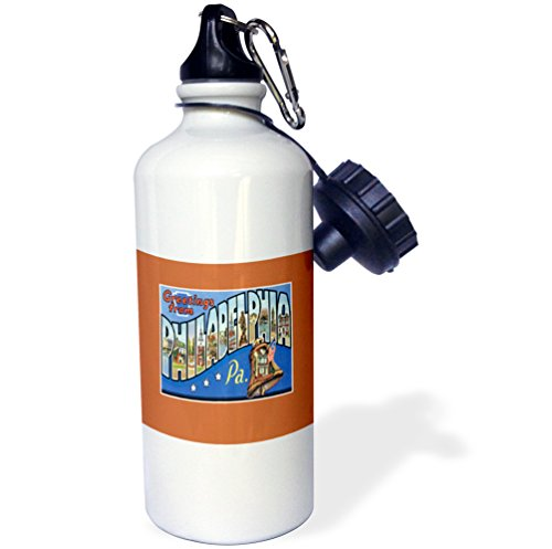 (3dRose Greetings from Philadelphia Pennsylvania with Liberty Bell-Sports Water Bottle, 21oz (wb_170560_1), 21 oz, Multicolored)