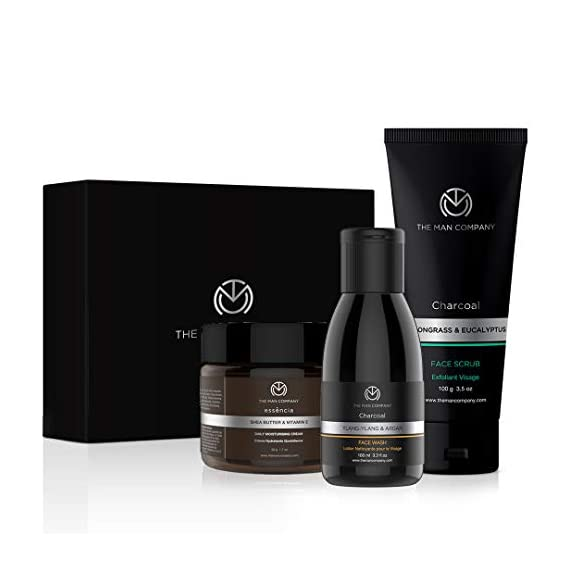 The Man Company Cleanse & Moisturise Pack (Charcoal Face Wash Charcoal Scrub Moisturising Cream) | Made in India