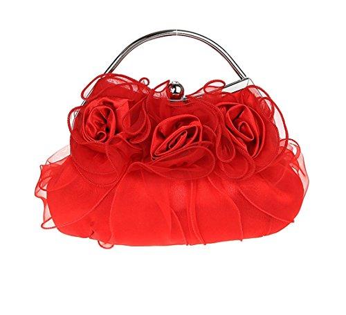 Satin Mariage Sacoches Soirée Femmes Partie Rouge KAXIDY Rouge Sac Sacs Pochette de Fleurs 4FaUOwCq