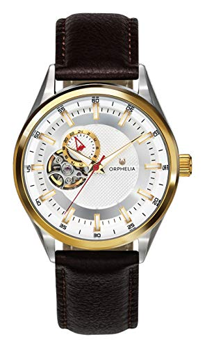 ORPHELIA Balance Men's Watch 40mm,Leather Brown Strap Japanese Quartz (Maroon)