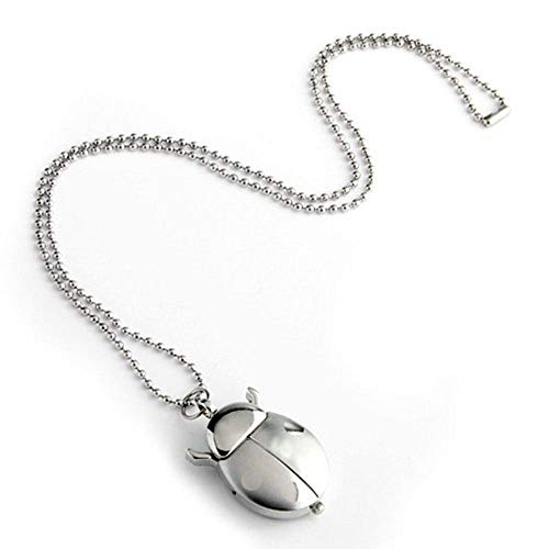 - Mgae Silver Beetle Pocket Watch Girls Boys Necklace Pendant Quartz Shellhard Ladybug Fob Pocket Watch