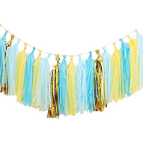 LEWOTE Tissue Paper Tassel Garland - 20pcs Tassels Per Package - 12 Inch Long Tassels(Gold/Yellow/Blue)