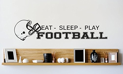 Vinyl Wall Decal Sticker : Football Helmet Mens Boys Kids Sports Image Quote Bedroom Bathroom Living Room Picture Art Peel & Stick Mural Size: 6 Inches X 24 Inches