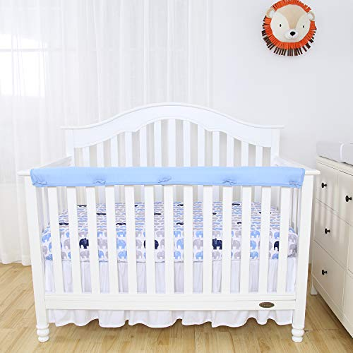 TILLYOU 1-Pack Padded Baby Crib Rail Cover Protector Safe Teething Guard Wrap for Long Front Crib Rails(Measuring Up to 8'' Around), 100% Silky Soft Microfiber Polyester, Reversible, White/Blue by TILLYOU