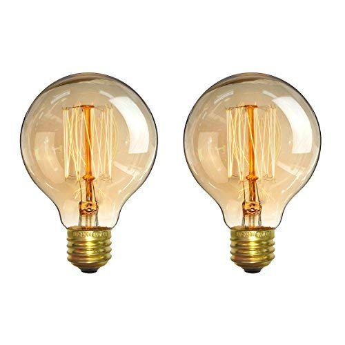 Vintage Light Bulbs, Elfeland Antique Retro Edison Bulb 60w E26 E27 Medium Base Globe Incandescent Light Bulbs G80 Dimmable for Pendant Lighting Wall Sconces Ceiling Fan (2 Pack)