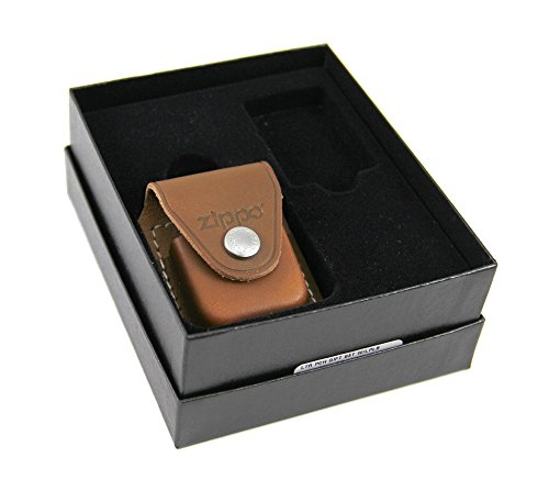 Zippo Lighter Gift Set w/ Brown Leather Pouch LPGS-LPCB (Lighter Leather Brown Pouch Zippo)