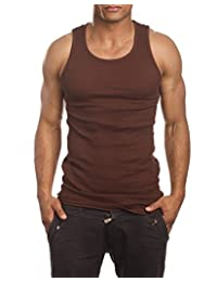 Men's A-Shirt Muscle Tank Top Gym Work Out Super Thick 3 Pack (Large, Brown)