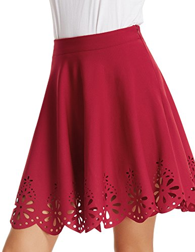 Grace Karin Young Ladies Plain Printed Evening Short Skater Skirt XL Wine Red Printed Short Skirt