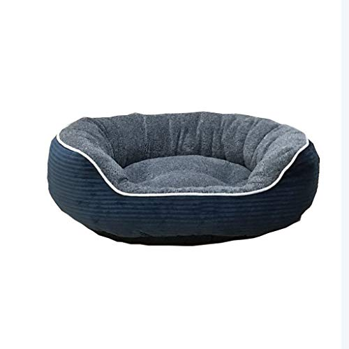 (HQSB Pet Bed Round or Oval Shape Dimple Plush Nesting Dog Bed Pet Cat Bed for Cats and Small Dogs (Color : Blue, Size : L) )