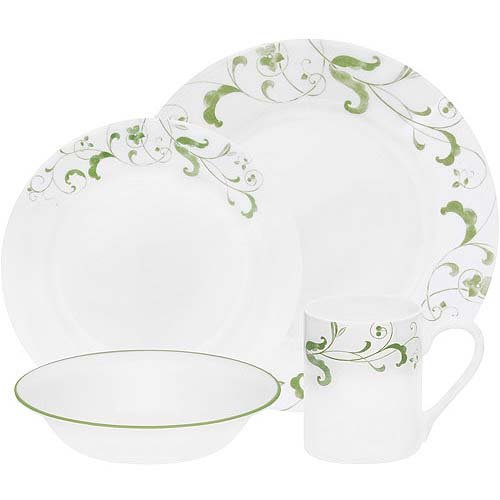 Corelle Impressions 16-Piece Set, Service for 4, includes 4 each 10 3/4-inch Dinner Plates, 8 1/2-inch Luncheon Plates, 18-ounce Soup/CerealBowls, 11-ounce Stoneware Mugs, Spring Faenza