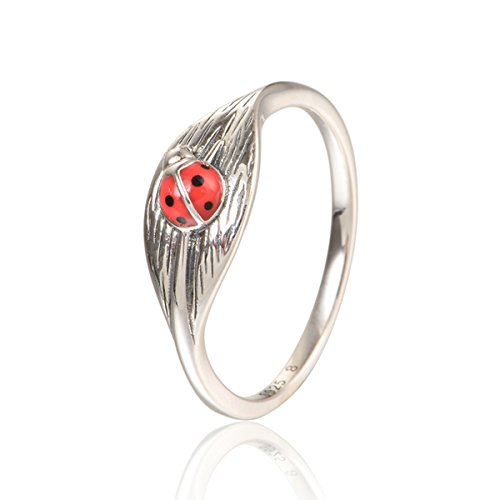 925 Sterling Silver Ladybug Shape Animal Ring Gift for Women Daily Wear Size 6