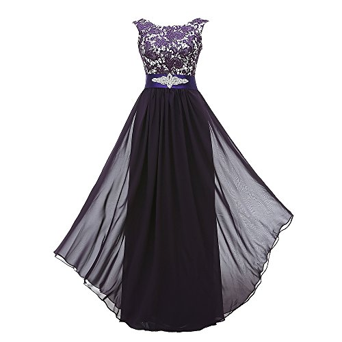 Corset Long Gown (Grace Lee Women's Long Evening Gowns Lace Round Neck Prom Dresses(S,Purple))