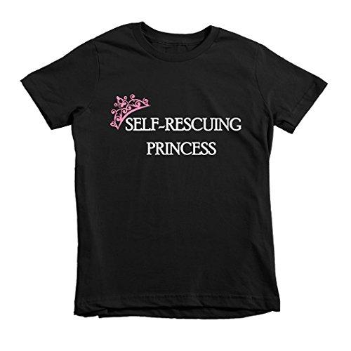Trunk Candy Girls Self Rescuing Princess 100% Cotton T-shirt (Black, M(7/8)) (Cotton Candy Princess)
