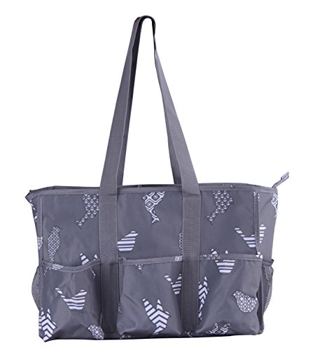 7-Pocket Tote Bag With Zipper (Gray Birds)
