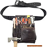 Graintex OS2201 5 Pocket Right Handed Oil Tanned Leather Nail & Tool Pouch Dark Brown Color for Constructor/Electrician/Plumber