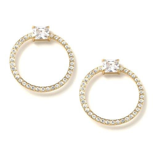 Rectangle Shape Earrings (Gold Crystal 50mm Hoop Ring Shape Rectangle Cubic Zirconia Center Piece Drop Earrings)