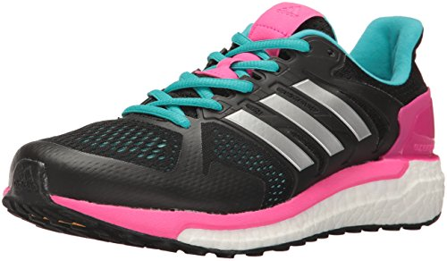 adidas Women's Supernova ST W Running Shoe, Black/Metallic/Silver/Shock Pink - Glide Supernova Shoes Adidas
