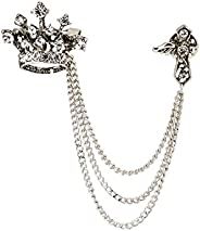 Knighthood Crown Tassel Chain for Coat Suit Silver Lapel Pin Badge Coat Suit Jacket Wedding Gift Party Shirt C