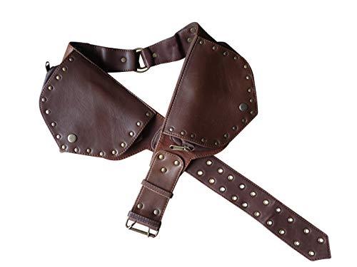 - Leather Utility Belt | Ring Saddlebag, 4 Pocket | hip bag, travel, festival, cosplay, fanny pack (Brown)