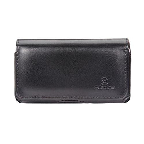 Black Horizontal Leather Case Cover Pouch Swivel Belt Clip Loops for Verizon HTC 7 Trophy - Verizon HTC Merge - Verizon HTC Thunderbolt 4G - Verizon Kyocera Hydro Elite C6750