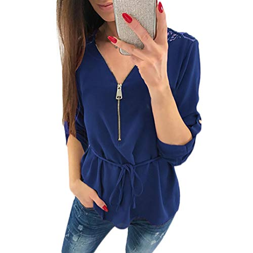 Price comparison product image Pervobs Women T-Shirt,  Clearance! Womens Lace Casual Long Sleeve T-Shirt Loose Flowy V-Neck Zipper T-Shirt Blouse Top (20-24,  Dark Blue)