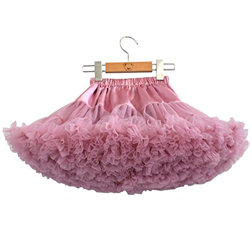 storeofbaby Girls Tulle Tutu Skirt Chiffon Pleated Solid Color Ballet Party Pettiskirt Deeppink