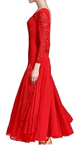 Valse Robe En Dentelle Robe Jupe De Danse Robe De Danse Moderne Robe Norme Nationale Rouge