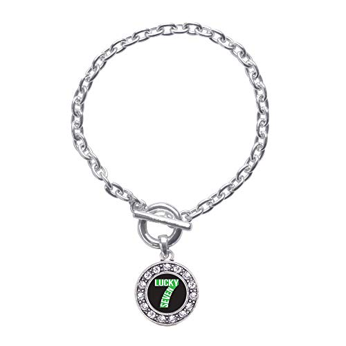 Inspired Silver - Lucky Seven Toggle Charm Bracelet for Women - Silver Circle Charm Toggle Bracelet with Cubic Zirconia Jewelry