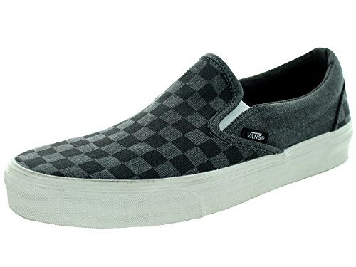 overwashed checker Negro Vans Slip on Hombre Classic Black qtxgBaA