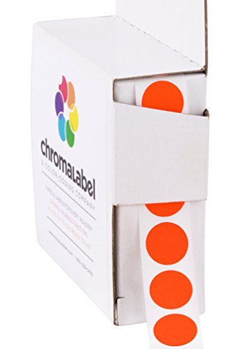 ChromaLabel 1/2 Inch Round Color Coding Labels | 1,000/Box (Fluorescent Red-Orange)